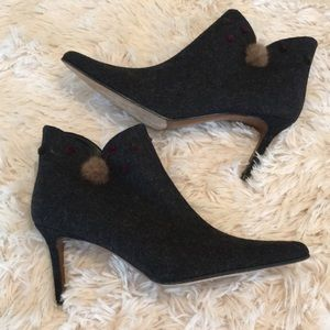 Christian Dior Felted Wool Fur Gray Boots